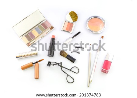 various make up on white background - stock photo