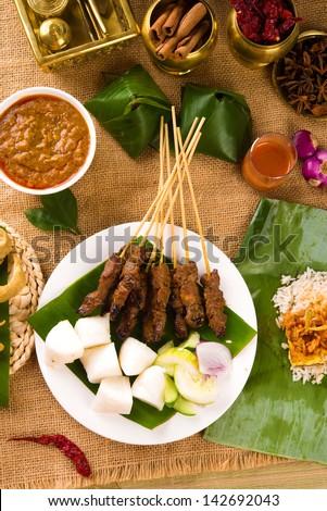 various malaysia food during hari raya ramadan festival - stock photo