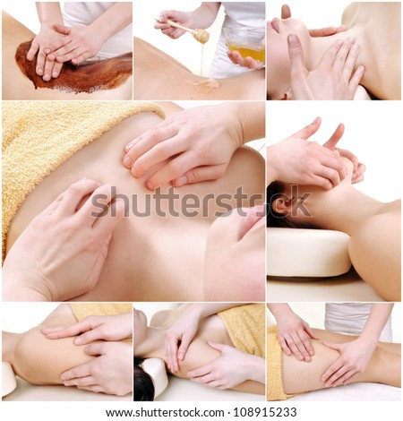 Various massage female body parts - a collection of 8 photos - stock photo