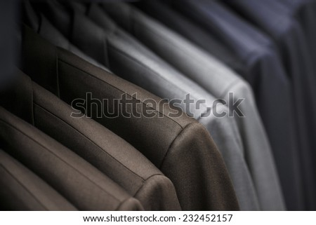 Various Men Fashion Jackets at Men Fashion Store - stock photo
