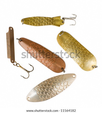 Various metal lures - spoons and pilker for pike and walleye fishing - stock photo