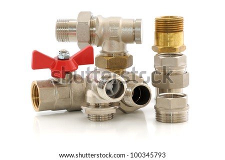 Various metal parts for plumbing and sanitary ware - stock photo