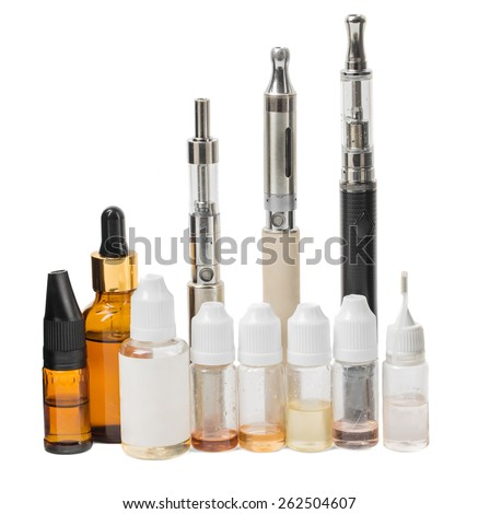 Various modern electronic cigarette vaporizers. Isolated on a white background. - stock photo