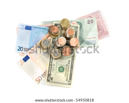 Various money currencies over white background, high angle shot, useful for  financial and economy themes - stock photo