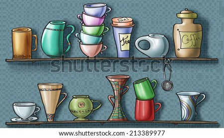 Various mugs and cups, a coffee jar, a tea box and a filter ball on wood shelves / Mugs and cups shelves / digital - stock photo