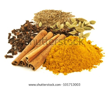 Various of aromatic spices on isolated background - stock photo