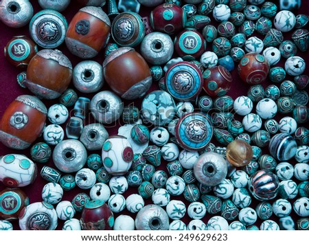 Various of different colorful necklace at   market in leh, India - stock photo