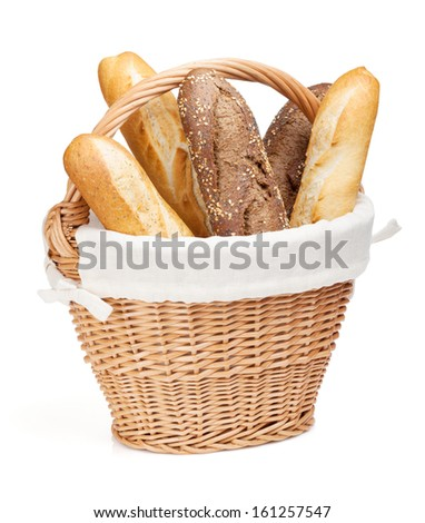 Various of french baguette basket. Isolated on white background - stock photo