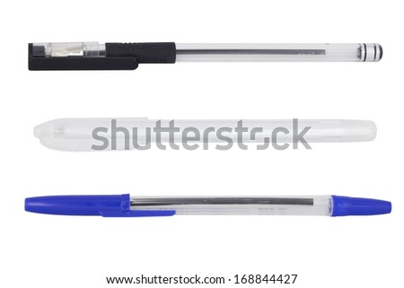 Various Office pens. Isolated on the white background - stock photo