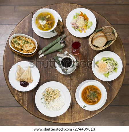 Various options for business lunch in a provincial style  - stock photo