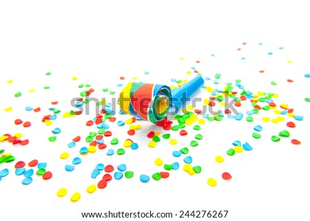Various party utensils. All on white background. - stock photo