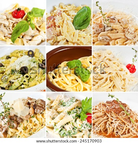 Various pasta collage including fettuccine with mushrooms, penne pasta, linguine pasta, tagliatelle, spaghetti Carbonara and spaghetti Bolognese - stock photo