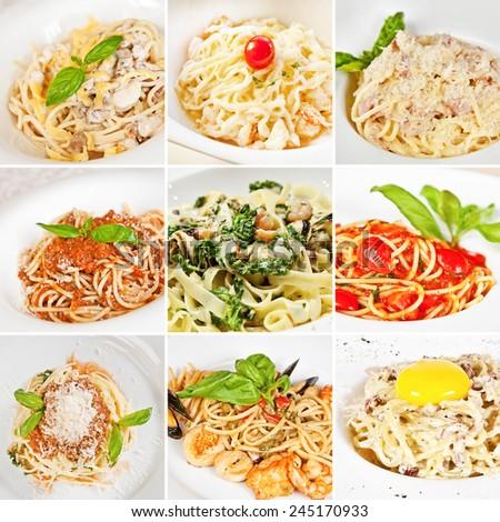 Various pasta collage including spaghetti Carbonara, spaghetti Bolognese and linguine pasta - stock photo