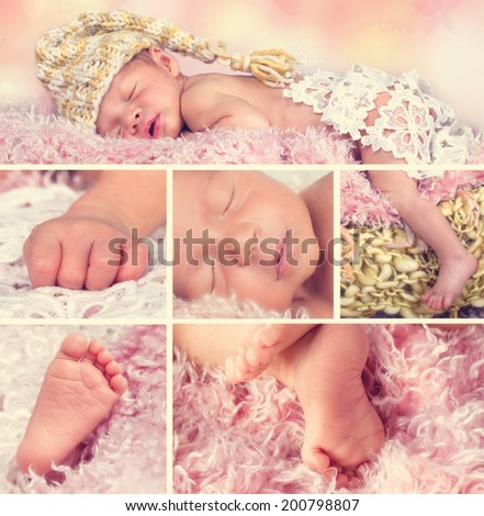 various photos of a newborn Baby summarized in a collage - stock photo