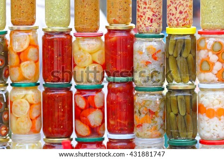 Various Pickled Vegetables in Mason Jars - stock photo