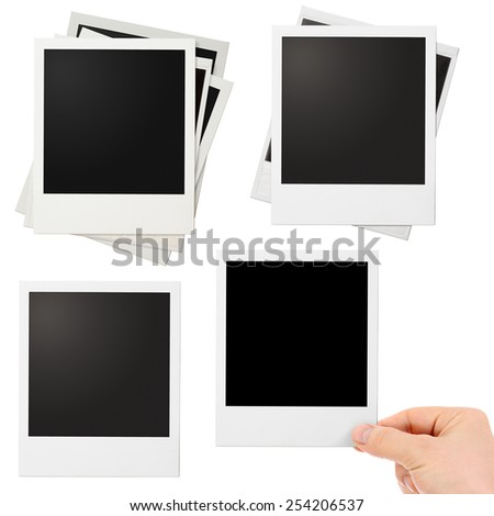 Various polaroid photo frames set isolated - stock photo