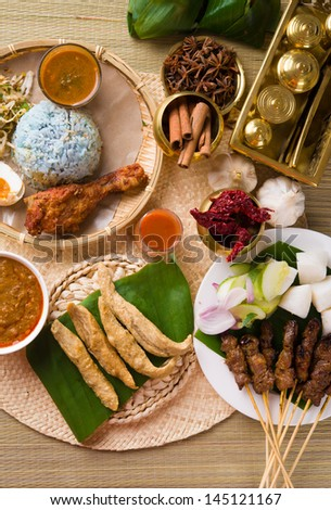 various popular malaysia food for ramadan, hari raya aidilfitri - stock photo