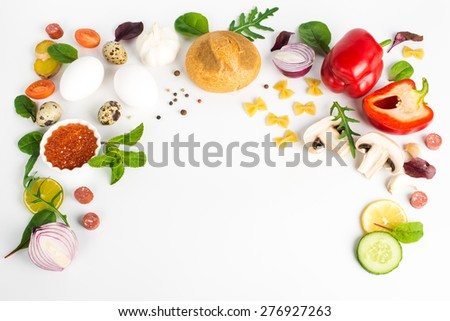 Various products. Top view with copy space - stock photo