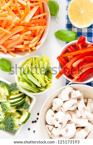 various raw vegetables prepared for cooking ready - stock photo