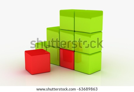 Various red cubes - stock photo