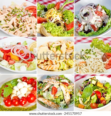 Various salads collage including mix salads, taco salad, greek salad, caesar salads, caprese salad and coleslaw salad - stock photo
