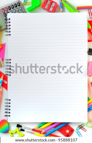 various school supplies - stock photo