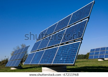 Various solar energy panels - stock photo