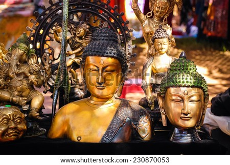 Various souvenirs, in the shop, India - stock photo