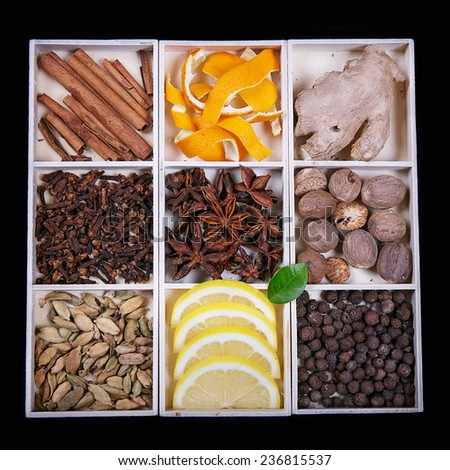 Various spices  (for gingerbread or mulled wine)  - stock photo