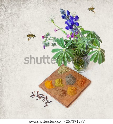 Various spices over wooden board, herbs flowers and honey bees. Image done on old paper texture in decorative retro style. Healthy food still life for kitchen interior - stock photo