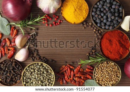Various spices selection. Food ingredients and aromatic additives. - stock photo