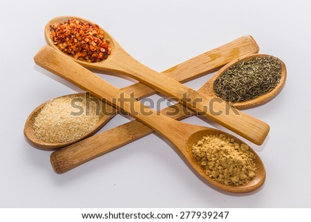 various spices to cook a variety of flavors, ginger, chili, garlic, thyme  - stock photo