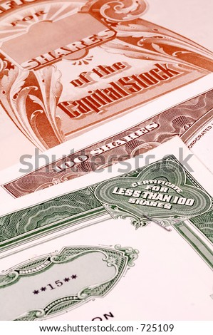Various Stock Certificates - stock photo