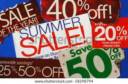 Various summer sale signs concepts of deep discount - stock photo