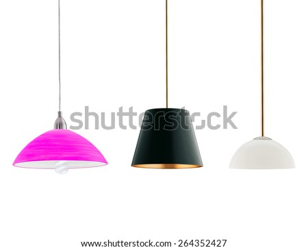 various tall floor lamps isolated on white - stock photo