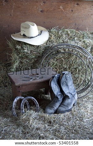 Various things found on a ranch. - stock photo