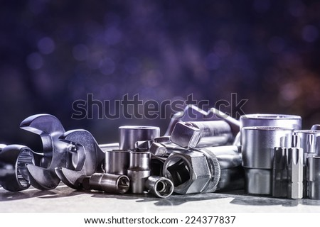 various tools for working with fixing materials - stock photo