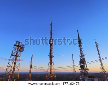 Various Transmitters on the top of el Toro Mountain on Menorca, Balearic Islands, Spain - stock photo