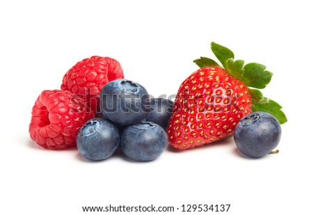 various type of berry fruits isolated on white - stock photo