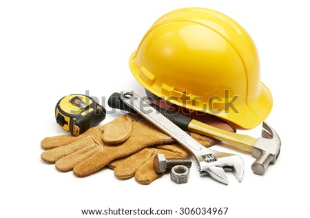 various type of tools in group on white background - stock photo