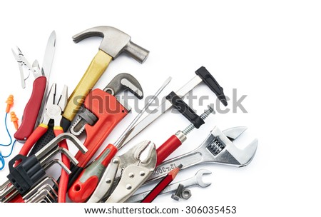 various type of tools on white background with copy space - stock photo