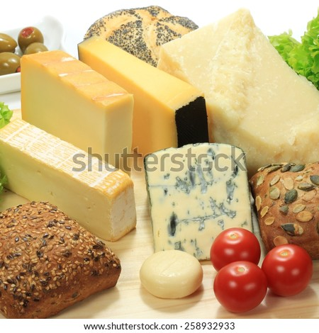Various types of cheese - Dutch, French and Italian. Dairy cuisine delicacies. - stock photo