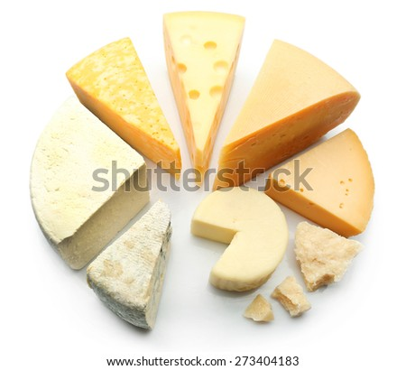 Various types of cheese isolated on white - stock photo