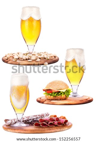 various types of food and beer isolated background - stock photo