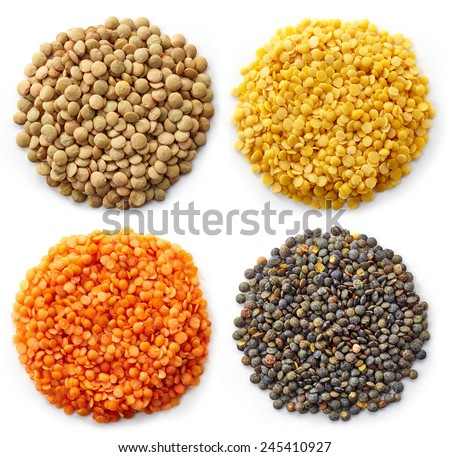 Various types of lentils (turkish lentils, green lentils, canadian lentils, indian lentils) isolated on white background - stock photo