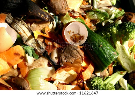 Various vegetable peelings, food and other waste for conceptual use. - stock photo