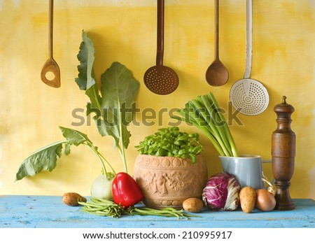various vegetables and kitchen utensils, cooking concept - stock photo
