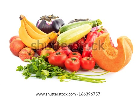 Various vegetables on white background - stock photo