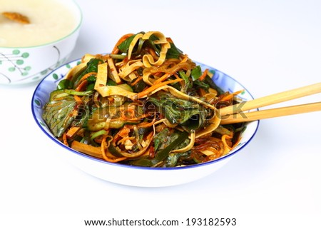 Various vegetables salad with spicy seasoning - stock photo