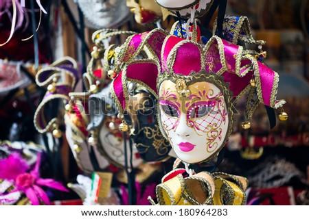 Various venetian masks on sale - stock photo